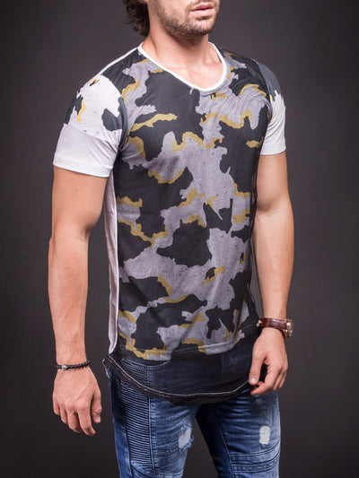 N&R Men Camo Mesh T-shirt - White