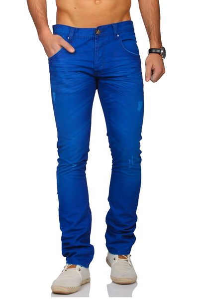 Distressed Faux Denim Chino  Trousers Pants - Blue - FASH STOP