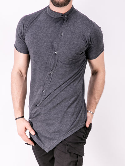 K&B Men Moved Buttons Mock Neck T-shirt - Heather Gray - FASH STOP