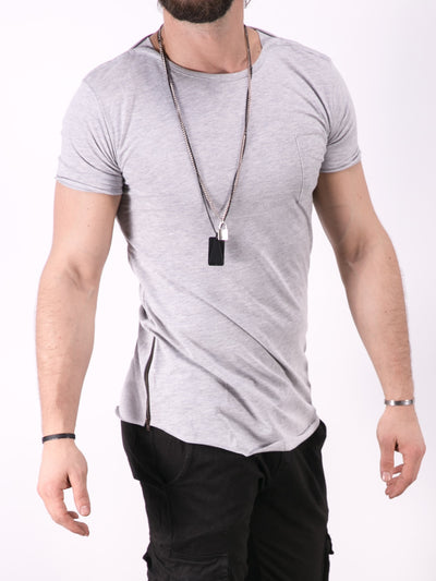 K&B Men Eye Neck Side Zippers T-shirt - Gray - FASH STOP