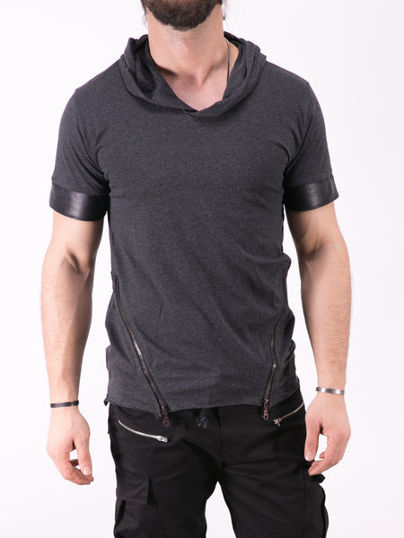 K&B Men Faux Leather Sleeves Hoodie T-shirt - Heather Gray