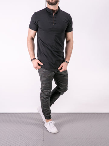 K&B Men Lace Mock Neck T-shirt - Black