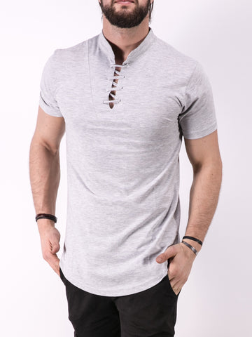 K&B Men Lace Mock Neck T-shirt - Gray