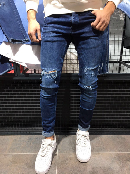 2Y Men Slim Fit Simplicio Ripped Jeans - Dark Blue