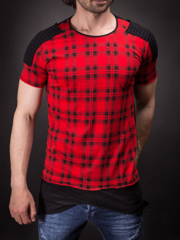 E1 Men Plaid Ribbed Shoulders T-shirt - Red