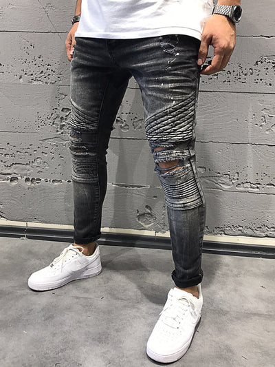 2Y Men Skinny Fit Ripped Destroyed Paint Short Jeans - Washed Black - FASH STOP