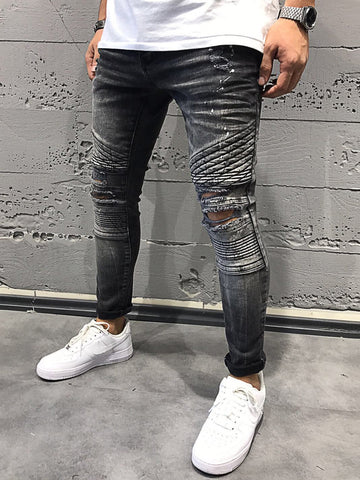 2Y Men Skinny Fit Ripped Destroyed Paint Short Jeans - Washed Black