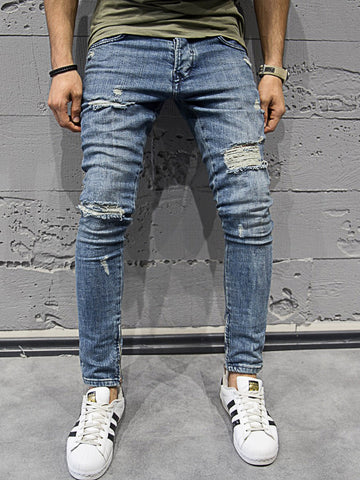 2Y Men Skinny Fit Ripped Destroyed Bottom Zippers Jeans - Blue