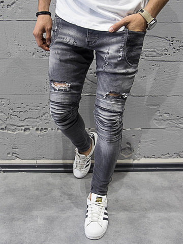 2Y Men Skinny Fit Stained Ribbed Pockets Bottom Zippers Motor Biker Jeans - Gray