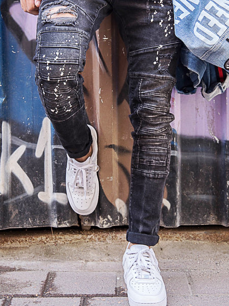 2Y Men Slim Fit Ripped Destroyed Paint Mini Bars Jeans - Black