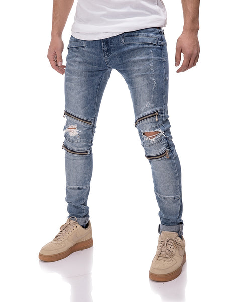 2Y Men Slim Fit Knee Ripped Zippers Jeans - Blue