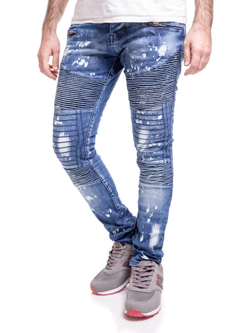 2Y Men Skinny Fit Stained Ribbed Motor Biker Jeans - Blue