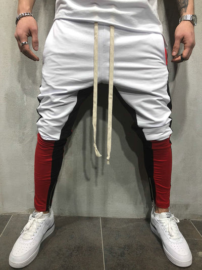 Block Sweatpants Joggers - White 3709