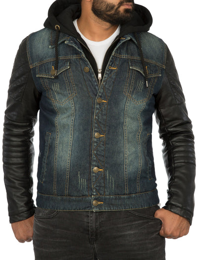 Men Stylish Denim Collar Hoodie Jacket Faux Leather Sleeves - Blue