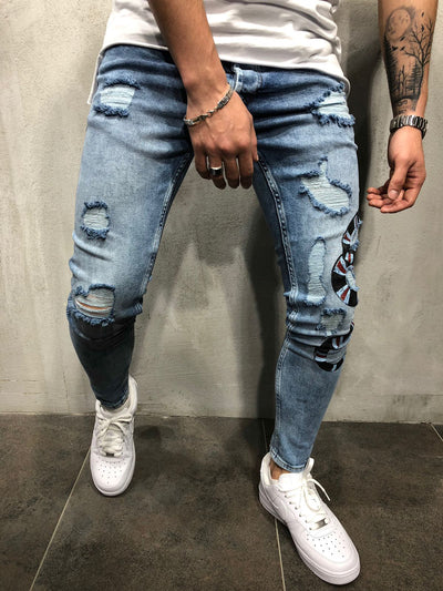 Side snake Ripped Jeans - Blue 3823