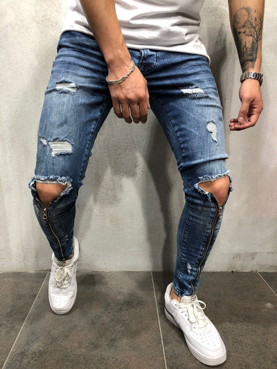 Men Skinny Fit Ripped Knee Zipper Shins Short Ankle Jeans - Blue 3849