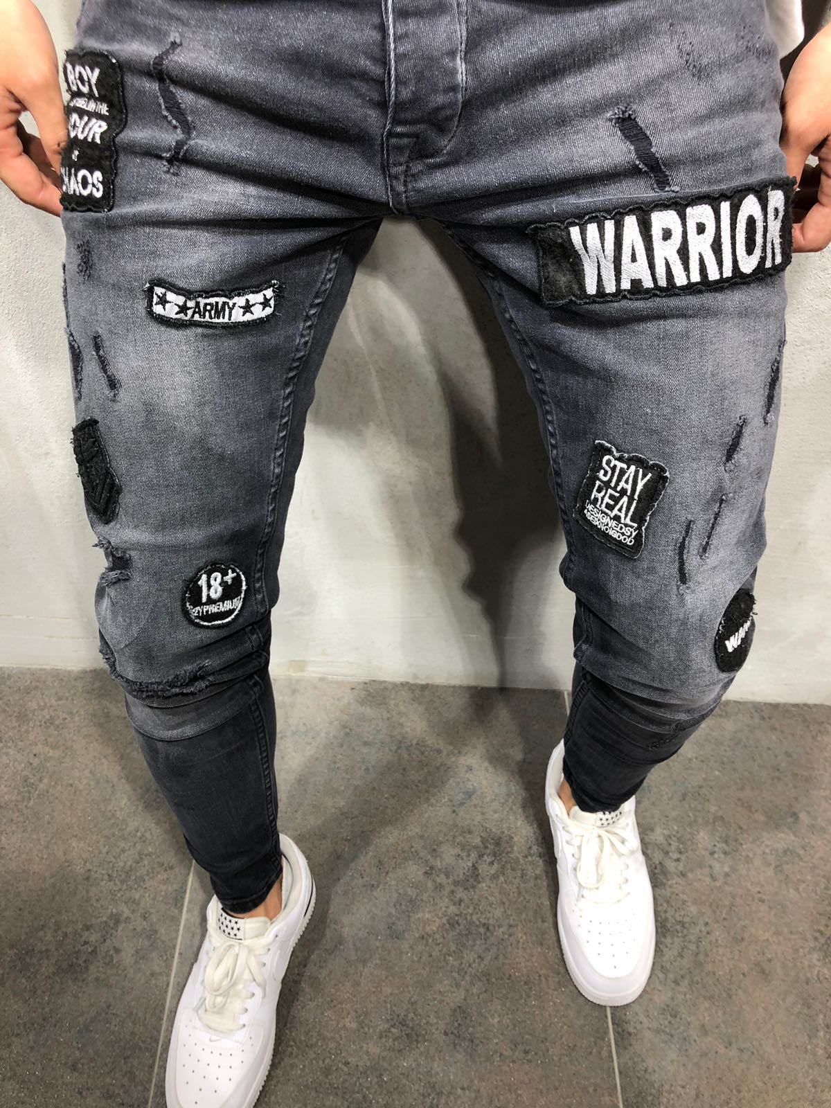 Warrior Patched Jeans - Black 3853