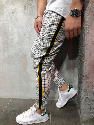 Men Casual Checkered Side Stripe Short Ankle Trousers Pants - White 3890