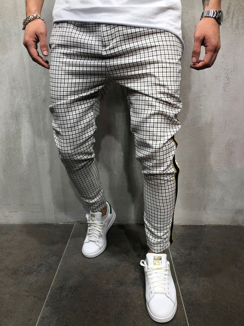 Care Casual  Short Plaid Trousers Pants  - White 3890