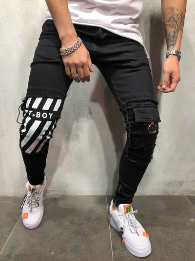 Men Skinny Fit Barknee Jeans - Black 3925