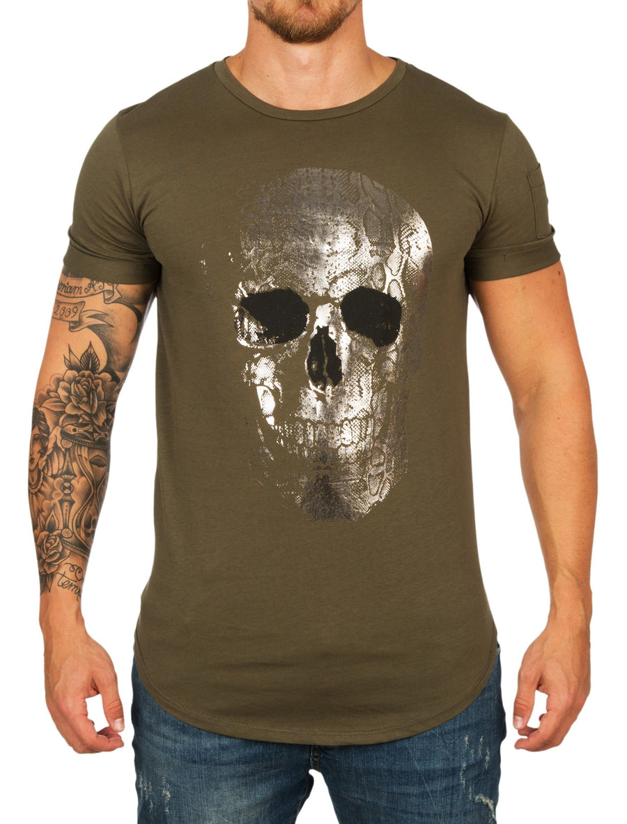 Y&R Men Silver Spoc Skull T-Shirt - Green