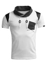 R&R Men Pat Mock Neck Pocket T-Shirt - White