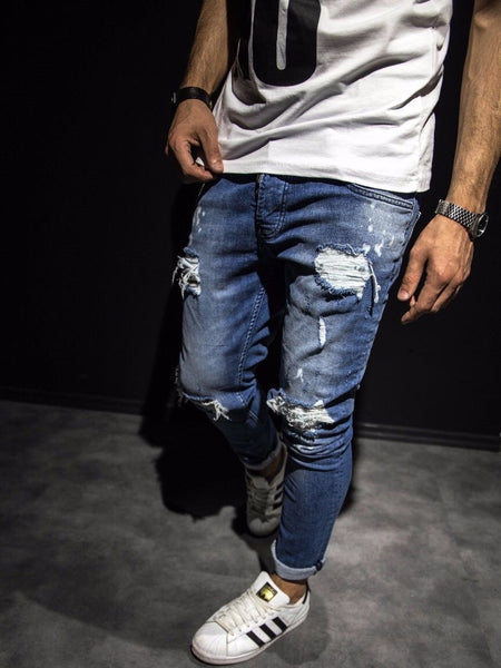 2Y Men Slim Fit Just Ripped Destroyed Jeans - Blue