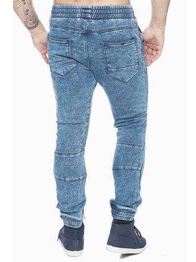 F&S Men Slim Fit Biker Jogger Jeans - Washed Blue - FASH STOP