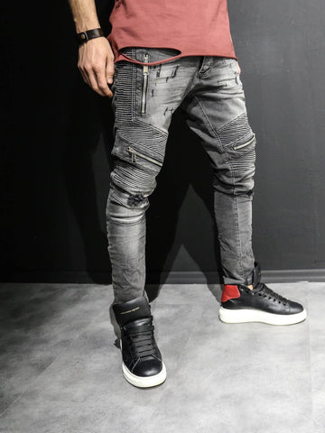 2Y Men Slim Fit Distressed Motor Biker Zippers Jeans - Washed Black