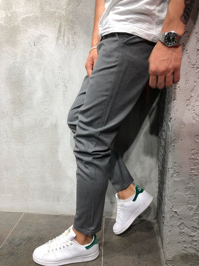 Men Casual Short Roll Up Tass Trousers Pants - Dark Gray 4030 - FASH STOP