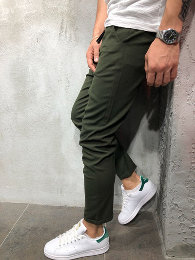 Men Casual Short Roll Up Tass Trousers Pants - Green 4032 - FASH STOP