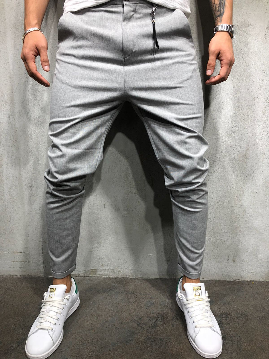 Men Casual Short Roll Up Tass Trousers Pants - Gray 4033