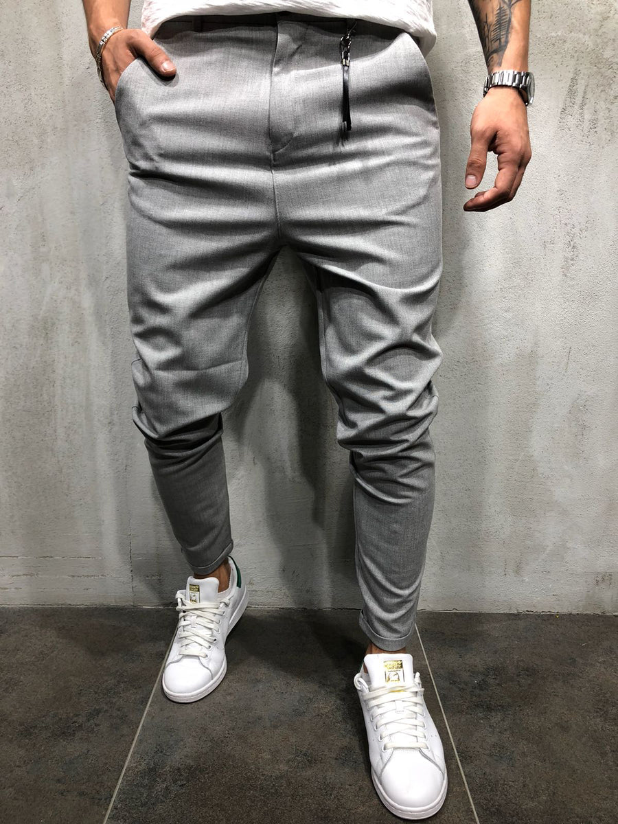 Men Casual Short Roll Up Tass Trousers Pants - Gray 4033 - FASH STOP