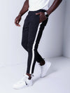 Men Casual Stripes Short Trousers Side Band Pants IV - Black 4034 - FASH STOP
