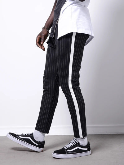 Men Casual Stripes Short Trousers Side Band Pants IV - Black 4034