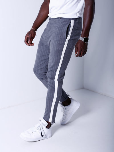 Men Casual Stripes Short Trousers Side Band Pants IV - Gray 4035 - FASH STOP