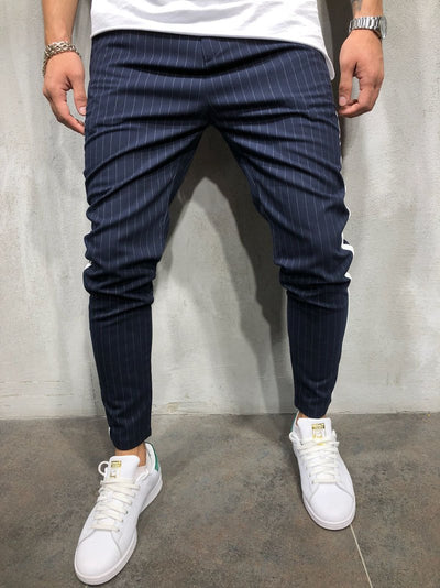 Men Casual Stripes Short Trousers Side Band Pants III - Navy Blue 4036
