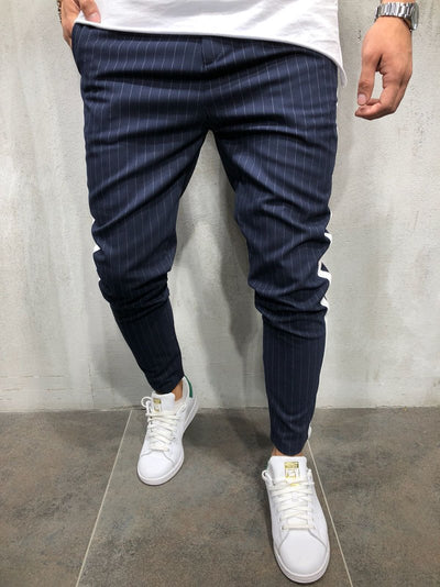 Men Casual Stripes Short Trousers Side Band Pants III - Navy Blue 4036 - FASH STOP