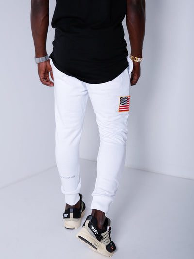 Embroidered USA Flag Patch Sweatpants Joggers - White 4318 - FASH STOP