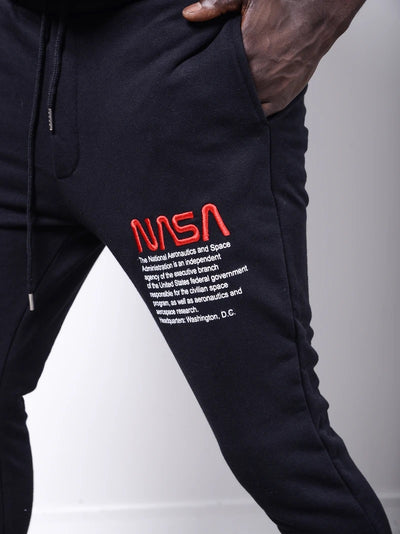 Embroidered USA Flag Patch Sweatpants Joggers - Black 4319