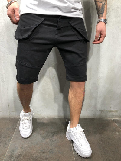Cargo Pockets Denim Jeans Shorts - Black 4323 - FASH STOP