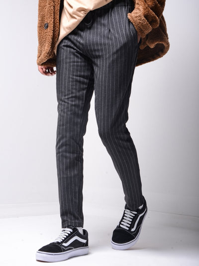 Men Casual InvStripes Short Ankle Trousers Pants  - Dark Gray 4387