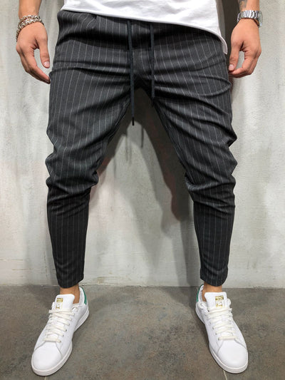 Men Casual InvStripes Short Ankle Trousers Pants  - Dark Gray 4387 - FASH STOP