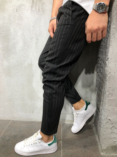 Men Casual InvStripes Short Ankle Trousers Pants  - Black 4389 - FASH STOP