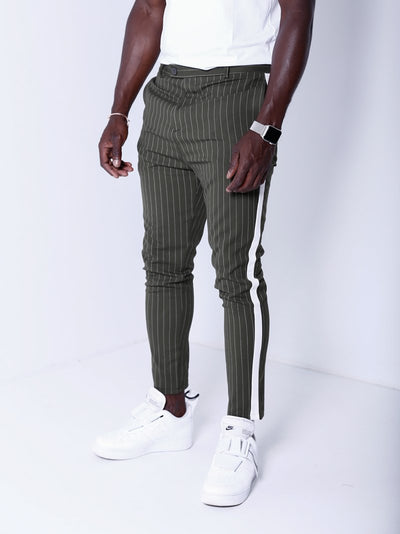 Men Casual Stripes Short Trousers Side Band Pants IV - Olive Green 4391 - FASH STOP