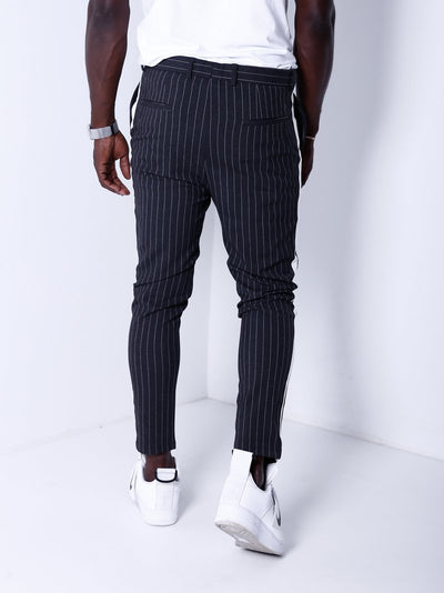 Men Casual Stripes Short Trousers Side Band Pants IV - Dark Gray 4392 - FASH STOP