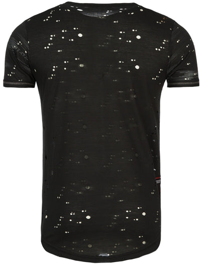 Y&R Men Casual Space Holes T-Shirt - Black