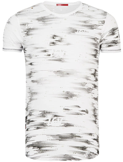Y&R Men Casual Space Holes T-Shirt - White