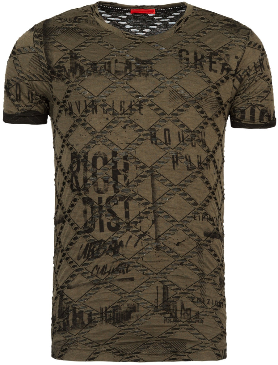 """Rich"" Faux Ripped Printed Graphic T-Shirt - Army Green - FASH STOP"