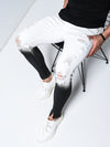 Frontiere II Ripped Distressed Jeans - White Black 4548